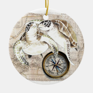 Sea Turtles Compass Map Ceramic Ornament