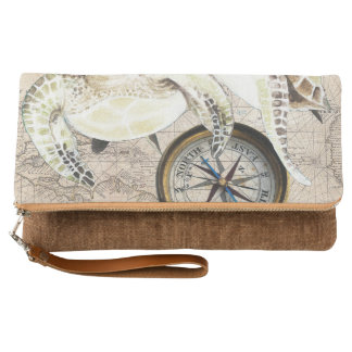 Sea Turtles Compass Map Clutch
