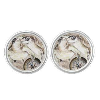 Sea Turtles Compass Map Cuff Links