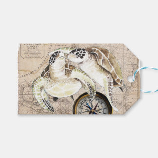 Sea Turtles Compass Map Gift Tags