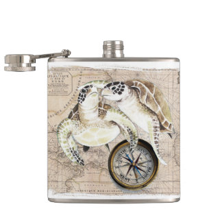Sea Turtles Compass Map Hip Flask