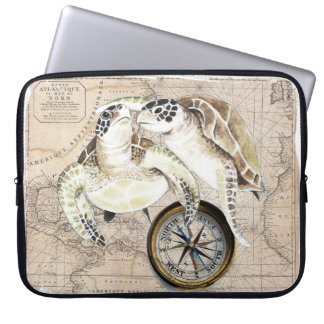 Sea Turtles Compass Map Laptop Computer Sleeves