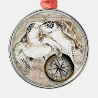 Sea Turtles Compass Map Metal Ornament