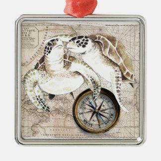 Sea Turtles Compass Map Metal Ornament