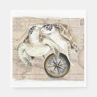 Sea Turtles Compass Map Napkin