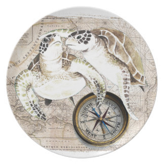 Sea Turtles Compass Map Party Plate