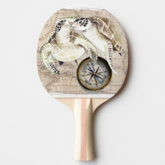 Sea Turtles Compass Map Ping Pong Paddle