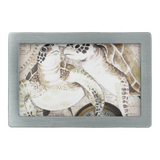 Sea Turtles Compass Map Rectangular Belt Buckles