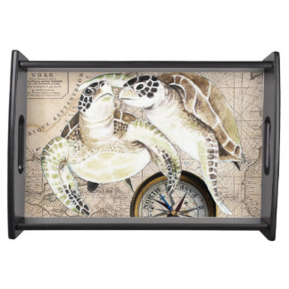 Sea Turtles Compass Map Serving Tray