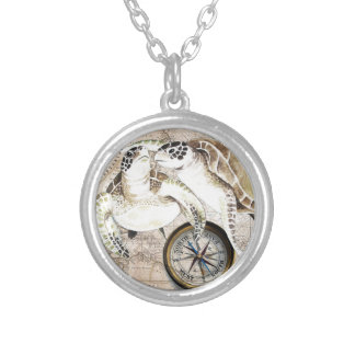 Sea Turtles Compass Map Silver Plated Necklace