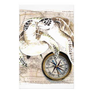 Sea Turtles Compass Map Stationery