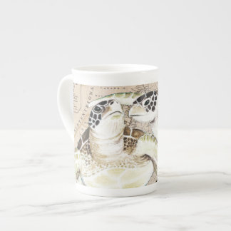 Sea Turtles Compass Map Tea Cup