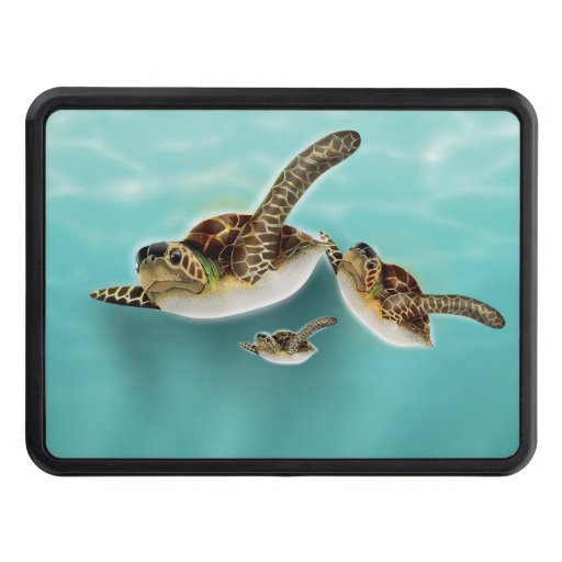 Sea Turtles Illustration Trailer Hitch Covers