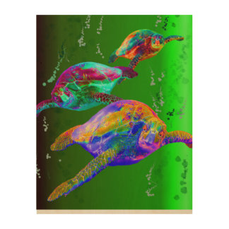 Sea Turtles in a Green Sea Wood Print