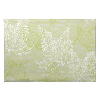 Sea Turtles & Kelp in Soft Greens and Whites Placemat
