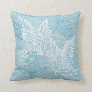 Sea Turtles & Kelp on Blue Throw Pillow
