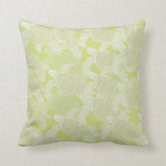Sea Turtles Migration in Soft Green Hues Throw Pillow