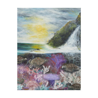 Sea turtles painting on stretched canvas print