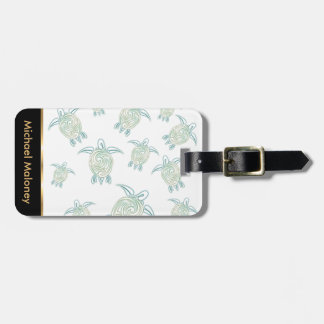 Sea Turtles Pattern White Green Bag Tag