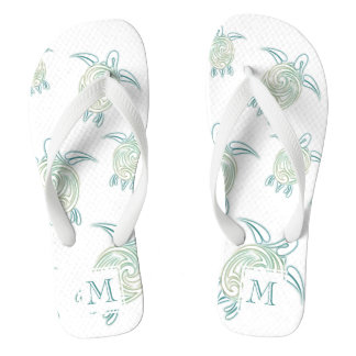 Sea Turtles Pattern White Green Monogram Flip Flops