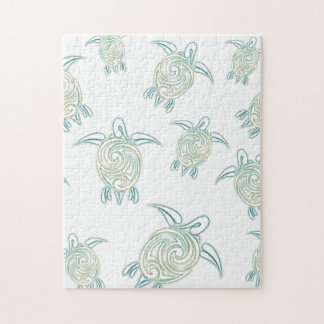 Sea Turtles Pattern White Green Puzzles