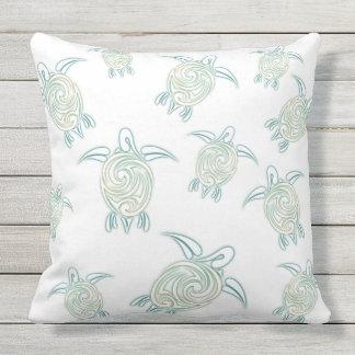 Sea Turtles Pattern White Green Throw Pillow