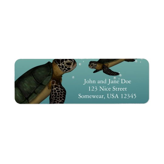 Sea Turtles Return Address Label