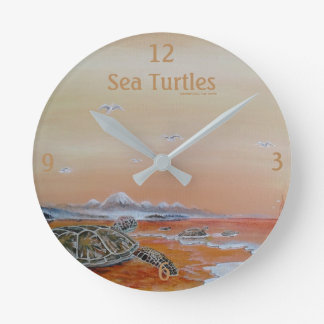 Sea Turtles! Sea turtle wall clock. Round Clock