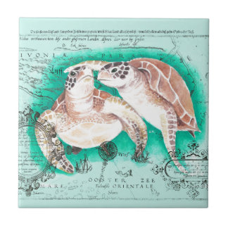Sea Turtles Teal Tile