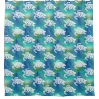 Sea Turtles White Blue Green Shower Curtain