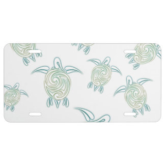 Sea Turtles White Green Pattern License Plate