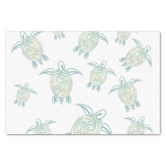 Sea Turtles White Green Pattern Tissue Paper