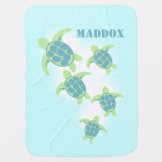Sea Turtles with Name Baby Blanket