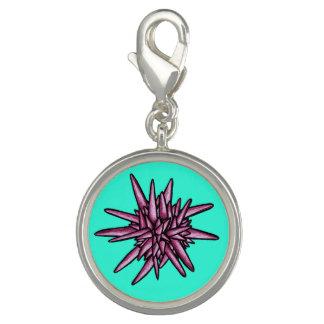 Sea Urchin Pink and Aquamarine Charm
