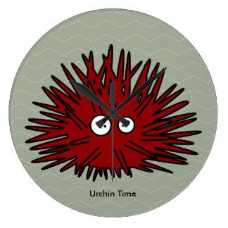 Sea Urchin Uni Spiny Red Hedgehog Ocean Clock