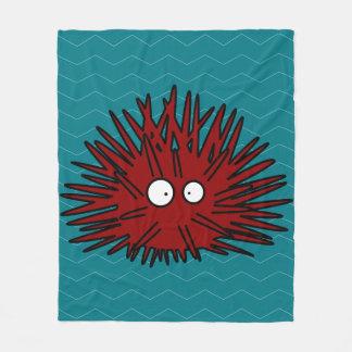 Sea Urchin Uni Spiny Red Hedgehog Ocean Fleece Blanket