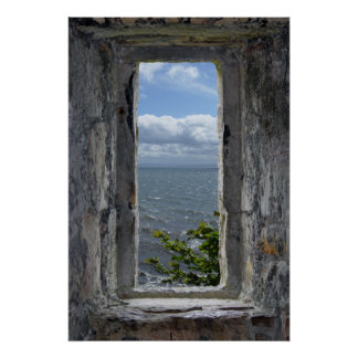 Sea View from a Castle Window Poster
