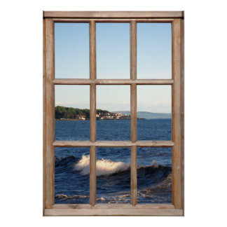 Sea View from a Window with Cresting Wave Poster