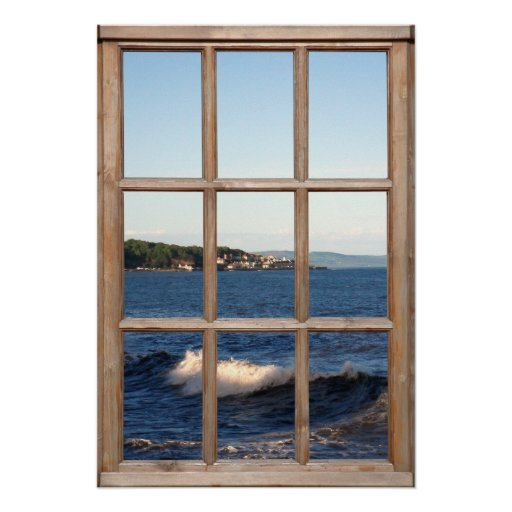 Sea View from a Window with Cresting Wave Posters