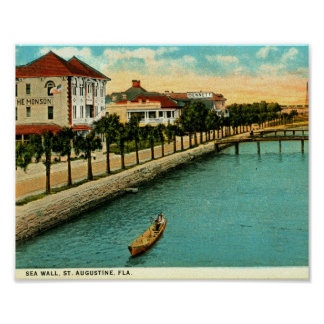 Sea Wall, St. Augustine, Florida Vintage Poster