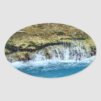Sea Washed Rocks Oval Sticker