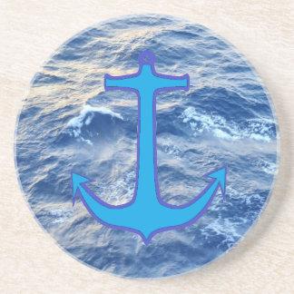 Sea Water Anchor Blue Coasters