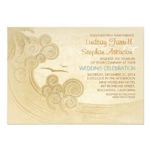 Vintage Beach Wedding Invitations: Sea Waves Beach Wedding Invitations Vintage