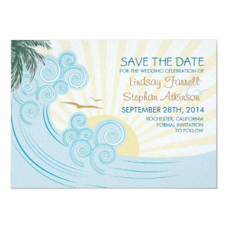 Sea waves beach wedding save the date cards