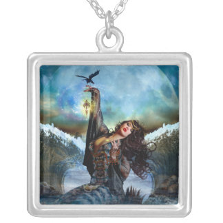 Sea Witch Digital Art Silver Square Necklace