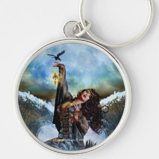 Sea Witch Magical Mermaid Round Art Keychain