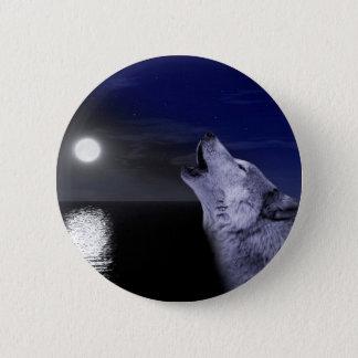 Sea wolf - moon wolf - full moon - wild wolf 2 inch round button