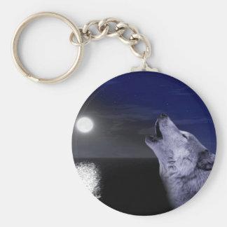 Sea wolf - moon wolf - full moon - wild wolf keychain