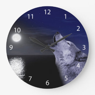 Sea wolf - moon wolf - full moon - wild wolf large clock