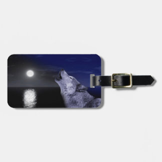 Sea wolf - moon wolf - full moon - wild wolf luggage tag